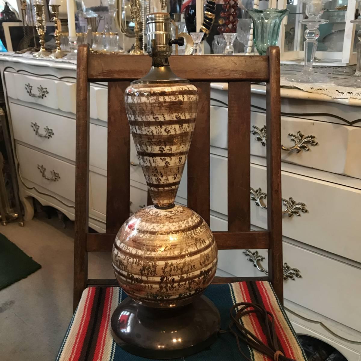 貴重!50'sアメリカアンティーク 茶×白×金色ランプ USA製ヴィンテージ家具Antiqueミッドセンチュリー/カリフォルニア西海岸60's70's_画像6