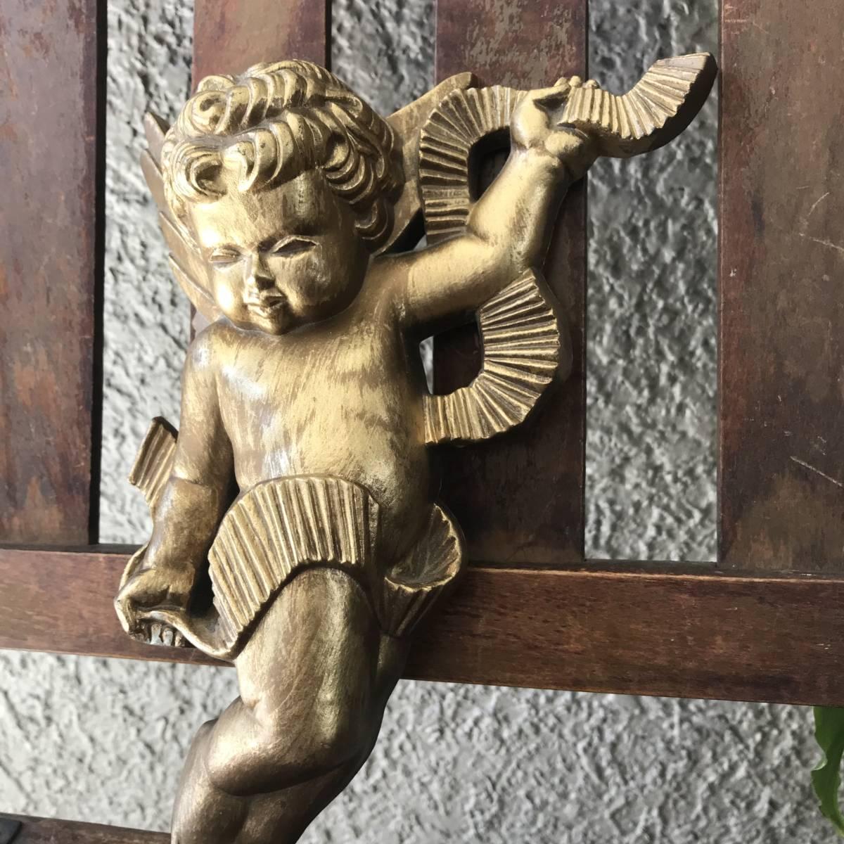 貴重!60's~70's アメリカアンティーク 天使エンジェルの壁掛け USA/北欧レトロ店舗什器ヴィンテージニューヨーク蚤の市ブロカント_画像3