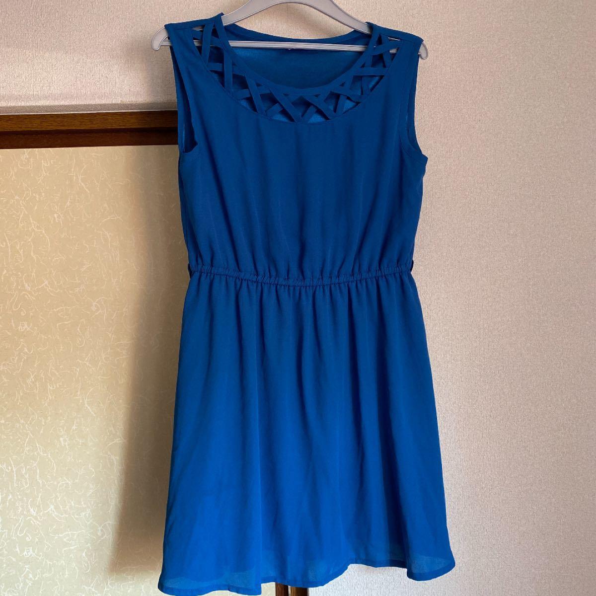 ワンピース ドレス ノースリーブ 袖なし ミニワンピ 青 ブルー デート
