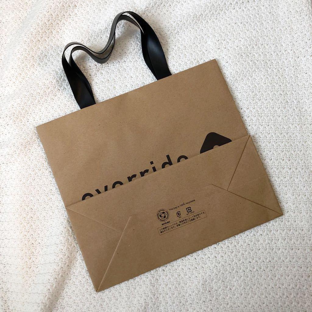 ★美品★over ride★ショッパー★ショップ袋★手提げ袋★紙袋★手さげ袋★ラッピング袋★包装★トートバッグ★オーバーライド★エコバッグ