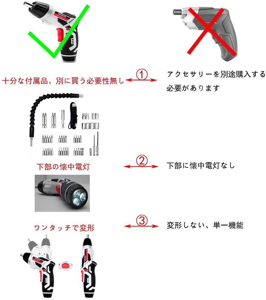 【限定1点】電動ドライバー 電動ドリル 44本ビット1本延長棒 正逆転切り替え トルク調整可 LEDライト付き USB充電ケーブル付き Kuromatsu_画像4
