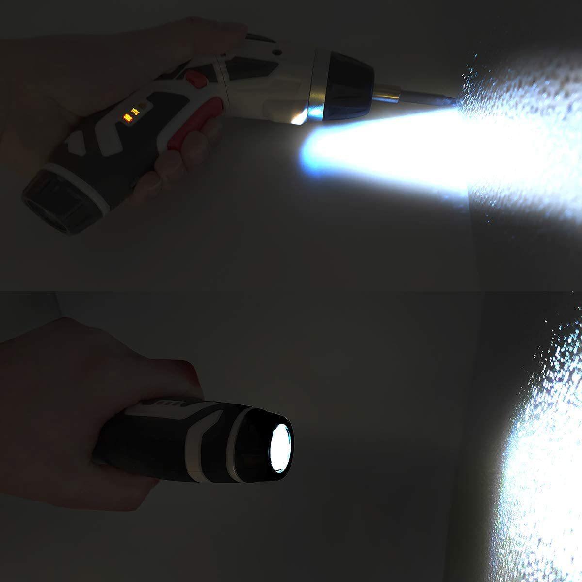 【限定1点】電動ドライバー 電動ドリル 44本ビット1本延長棒 正逆転切り替え トルク調整可 LEDライト付き USB充電ケーブル付き Kuromatsu_画像7