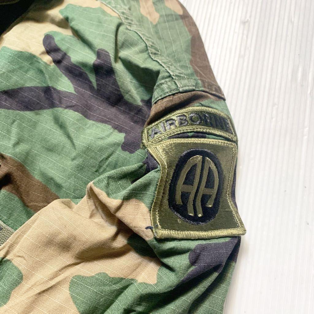 米軍放出品 実物 第82空挺師団 仕様 リップストップ ウッドランド迷彩 BDUジャケット MーXL 中古 Bdu ARMY ビンテージ_画像2