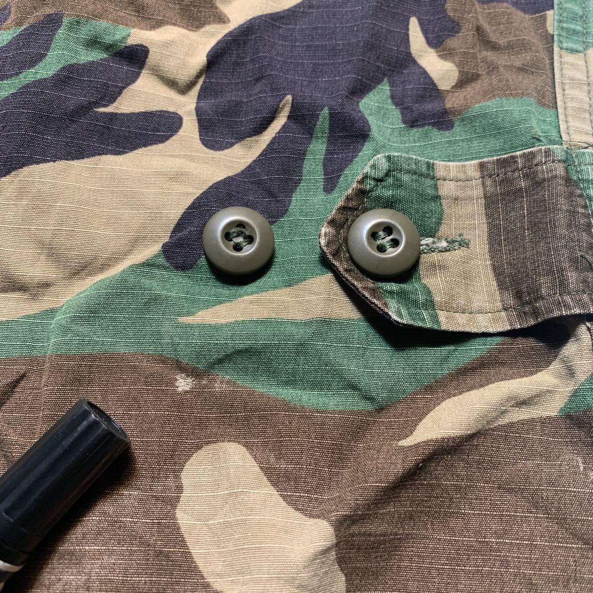 米軍放出品 実物 第82空挺師団 仕様 リップストップ ウッドランド迷彩 BDUジャケット MーXL 中古 Bdu ARMY ビンテージ_画像5