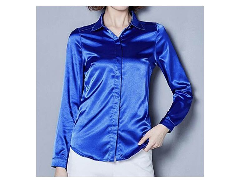 ブラウス シャツ サテン 長袖 シンプル 無地 上品 華やか オフィス OL 衣装 コバルト ブルー 青 XXL サイズ KIRITOA fabulous ファビュラス
