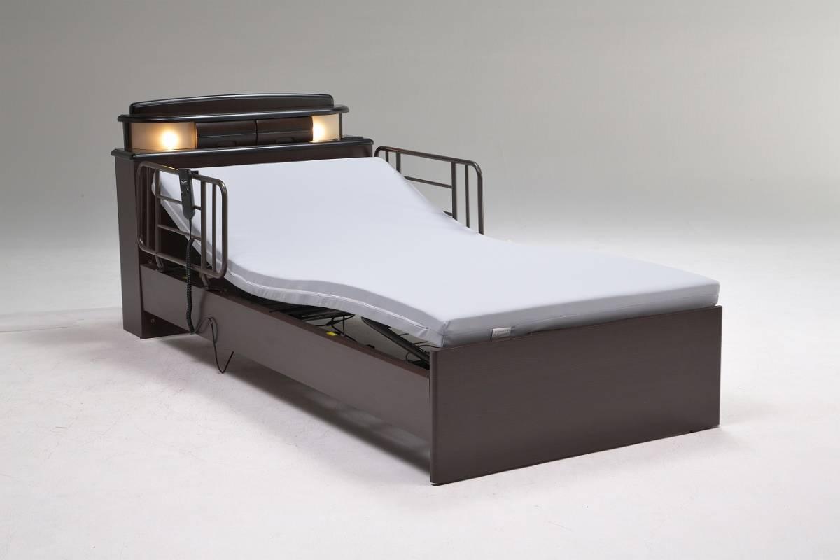 /新品/送料無料 開梱設置サービス/電動リクライニングベッド シングル 2モーター仕様 マット付/機能性重視/ライト/小引出しx2/コンセントx2_画像1
