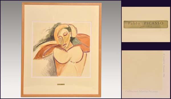 ピカソ Pablo Picasso リトグラフ「男の半身像」 1982年 カラー石版 マリナコレクション 額装あり 絵画 書画 美品 y0021_画像1