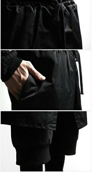 モード系 オシャレ レギンス付き レイヤードパンツ 黒 unisex 個性的
