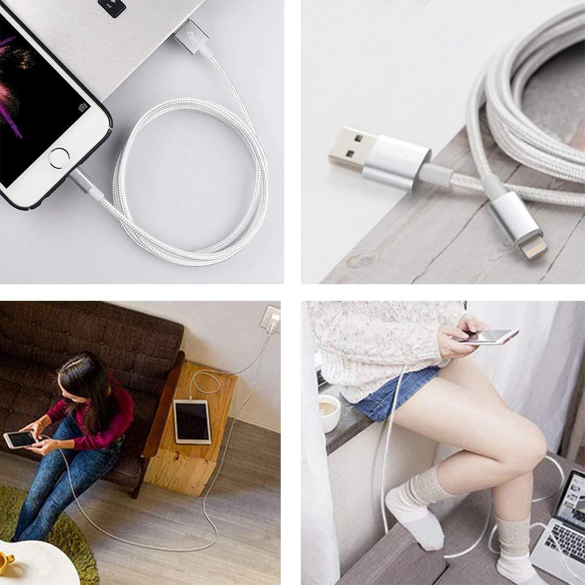 送料¥120 iPhone iPad 充電 ライトニングケーブル 2m データ転送 Lightningケーブル 断線に強い! 高耐久ナイロン編み アルミコネクタ_画像7