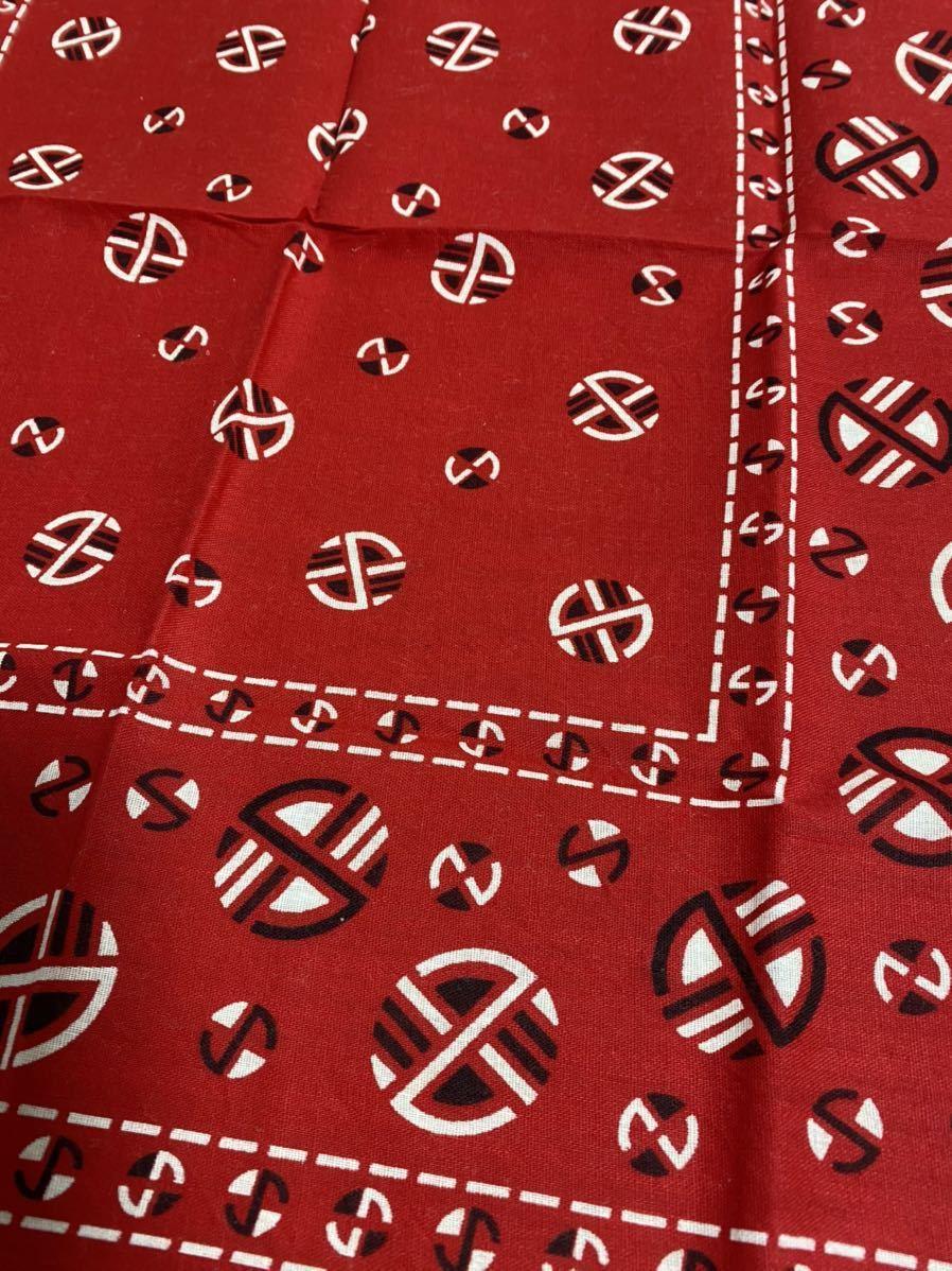 50s 60s デッドストック ビンテージ バンダナ GUARANTEED FAST COLOR ファストカラー 赤 USA製 ヴィンテージ DEADSTOCK BANDANA_画像3