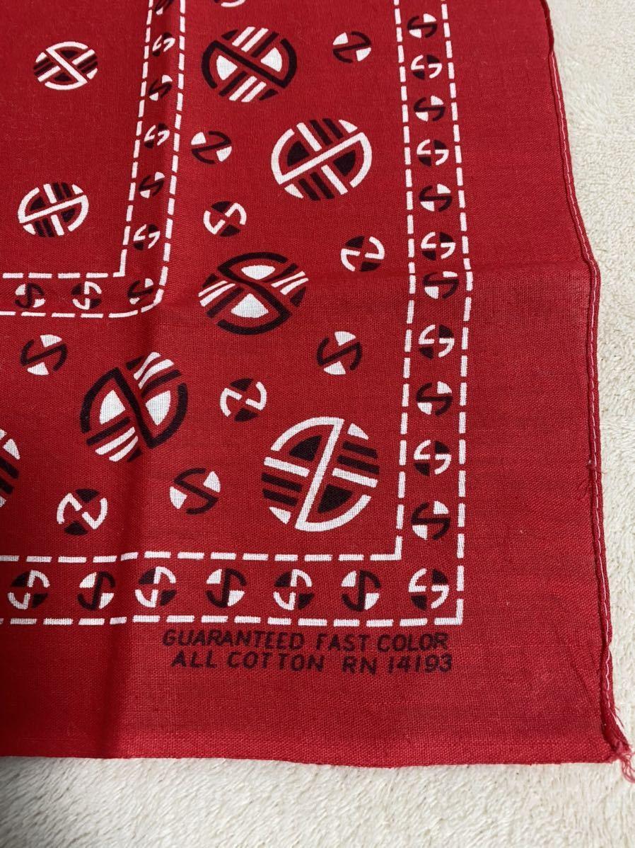 50s 60s デッドストック ビンテージ バンダナ GUARANTEED FAST COLOR ファストカラー 赤 USA製 ヴィンテージ DEADSTOCK BANDANA_画像2