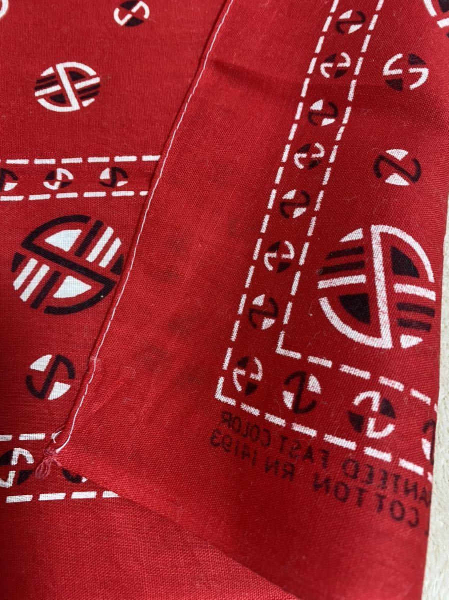 50s 60s デッドストック ビンテージ バンダナ GUARANTEED FAST COLOR ファストカラー 赤 USA製 ヴィンテージ DEADSTOCK BANDANA_画像4