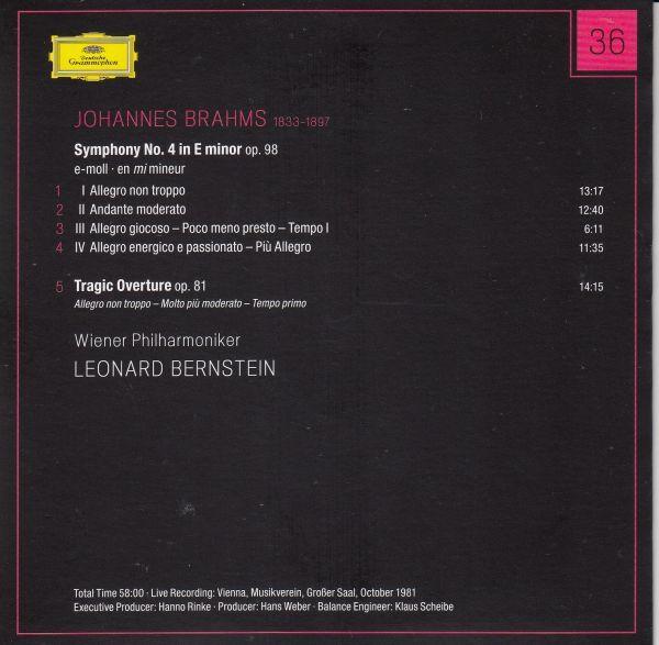 [CD/Dg]ブラームス:交響曲第4番ホ短調Op.98他/L.バーンスタイン&ウィーン・フィルハーモニー管弦楽団 1981.10_画像2