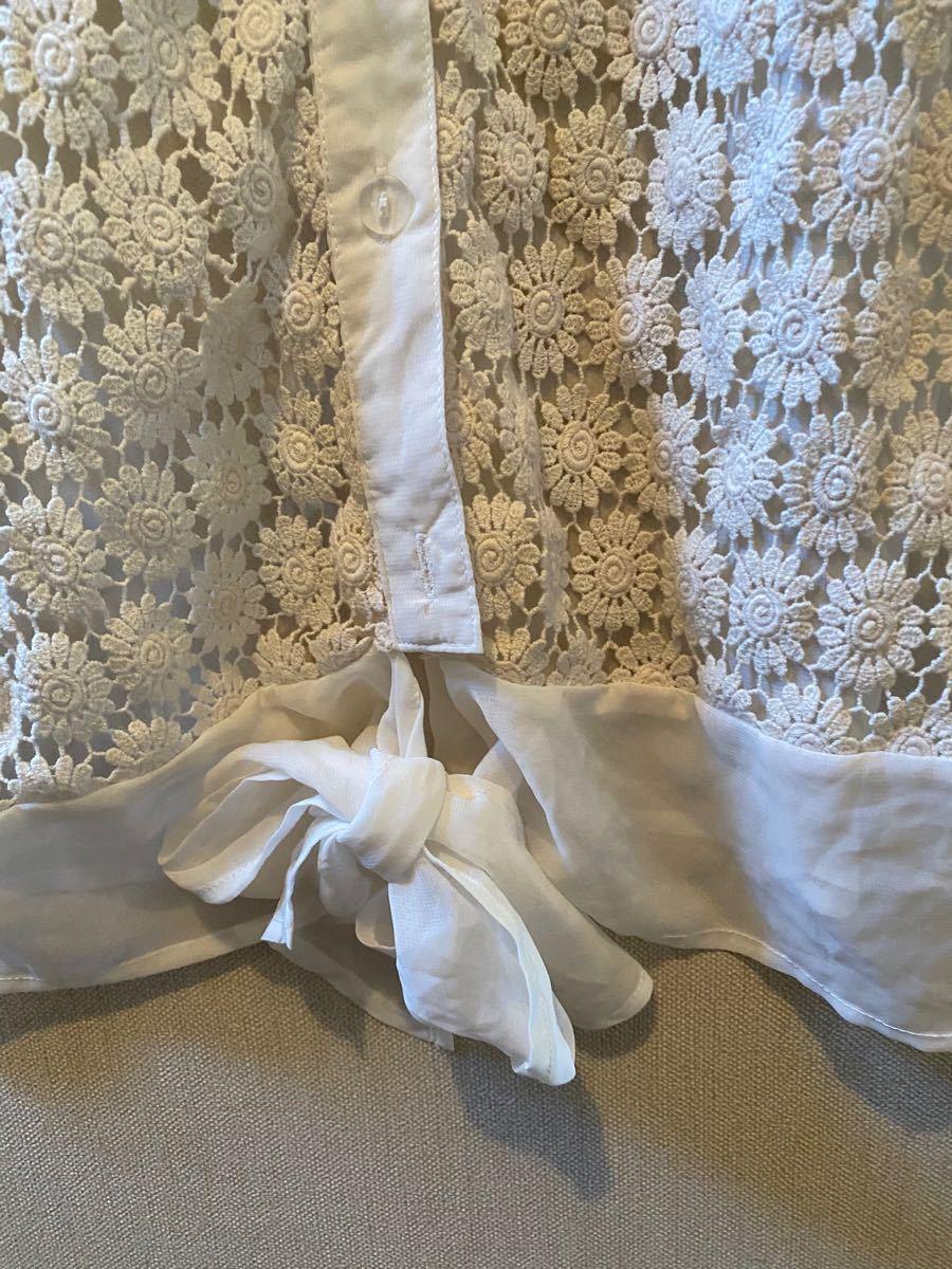 ページボーイ 花柄 半袖ブラウス 白