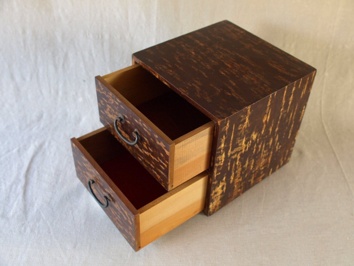 昭和レトロ 日本製 桜木箱20cm キュービックサイズ 収納箱 小物入れ 小引き出し 日本伝統工芸_画像3