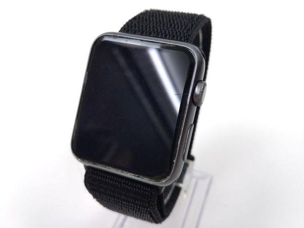 apple watch 4 44mm/ 3 42mm用 交換用ベルト ストラップ ナイロン スポーツバンド ブラック_画像1