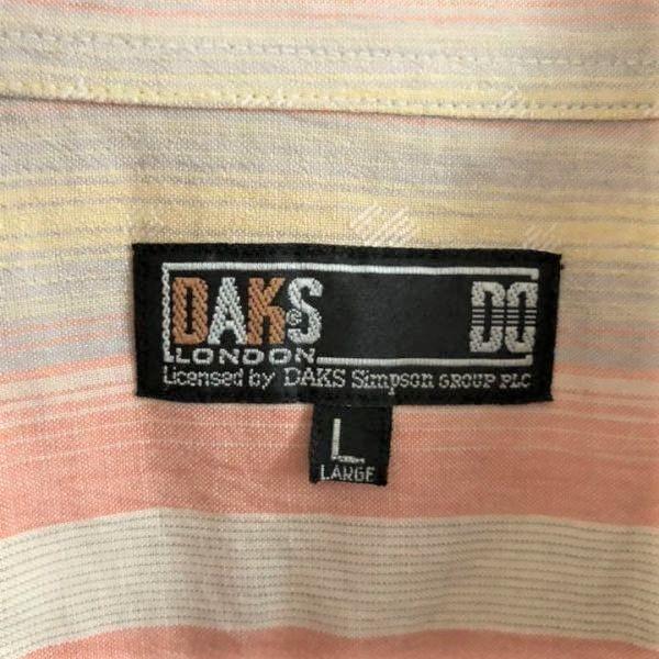 【オープンカラー】ダックス 半袖シャツ マルチストライプ DAKS M-Lサイズ