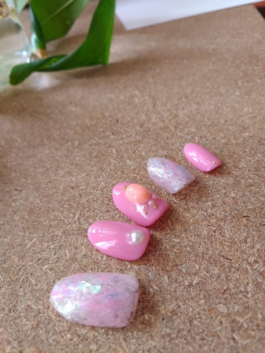 ネイルチップ ピンク 春色 カラー ニュアンス 珊瑚 コーラル ジェル