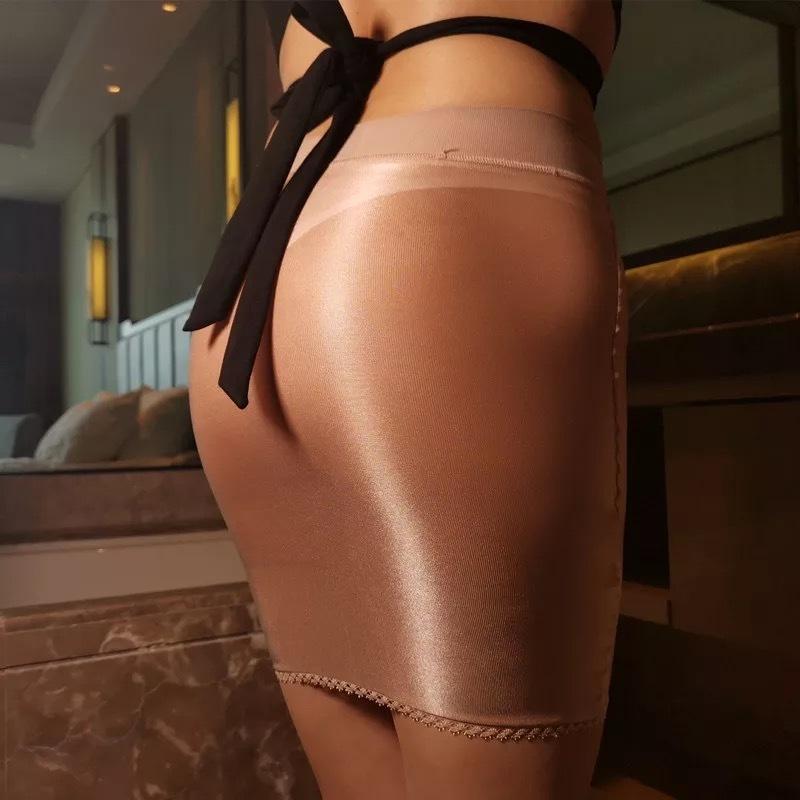 RM7029T. 最新作 大人気 セクシー 光沢 透ける ストッキング素材 タイトミニスカート コスプレレースクイーン コーヒー色_画像1
