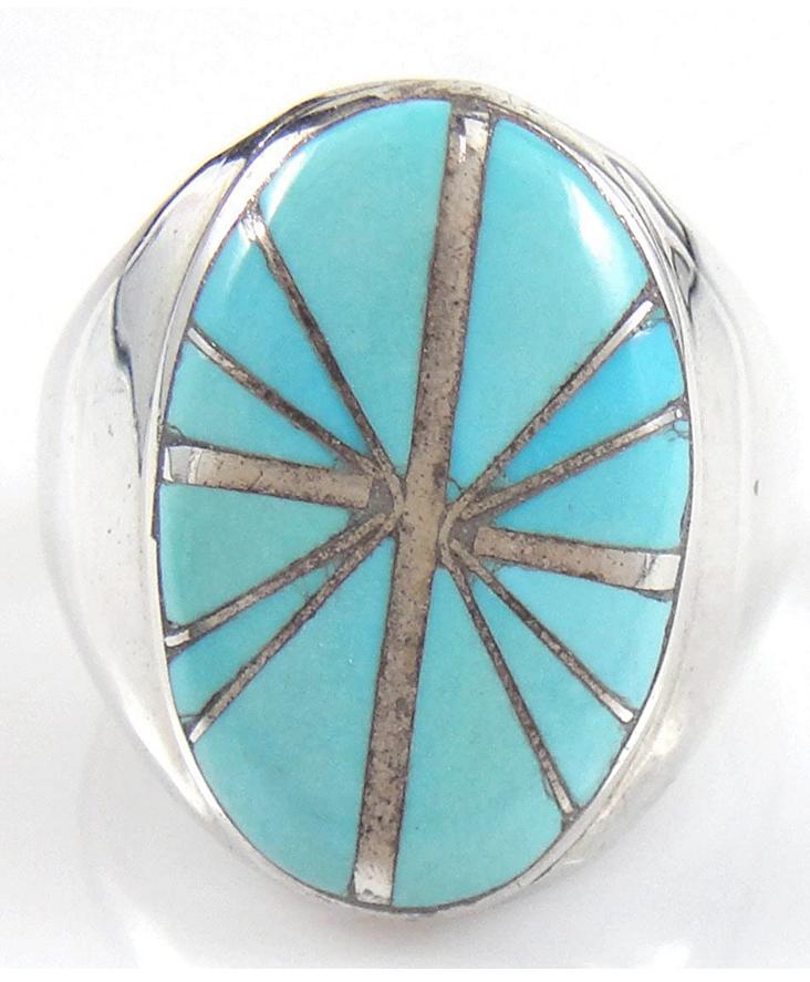 ヴィンテージシルバーリング/指輪/23.5号/インレイターコイズ(トルコ石)付き/ズニ族のインディアンジュエリー/ビンテージ_画像1