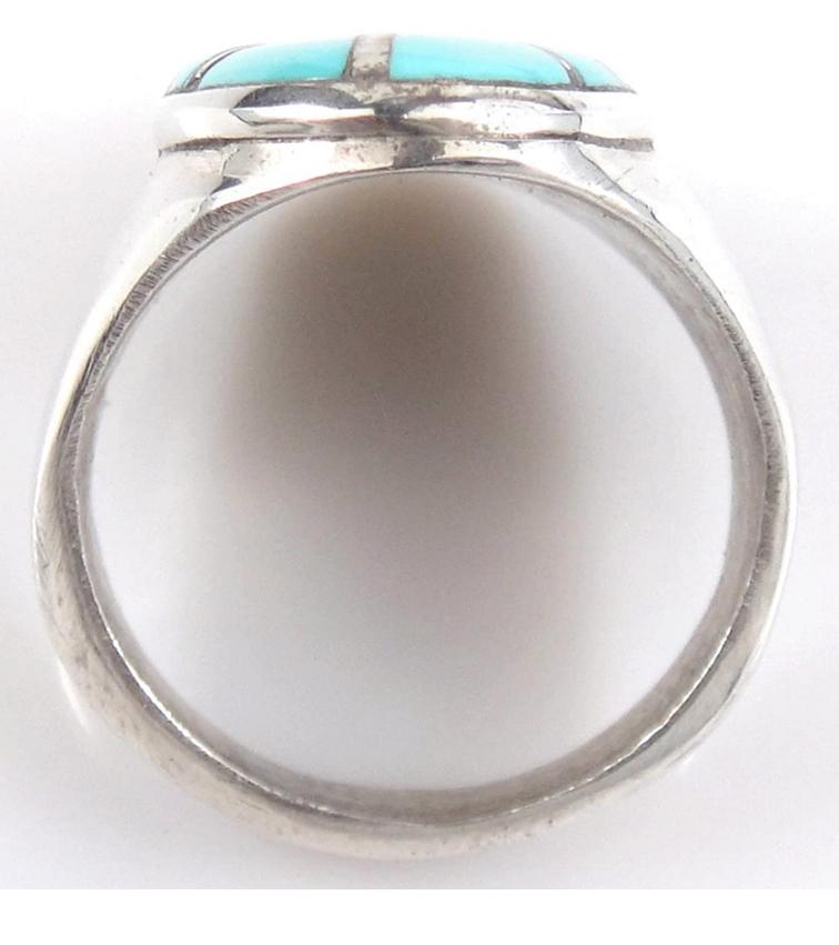 ヴィンテージシルバーリング/指輪/23.5号/インレイターコイズ(トルコ石)付き/ズニ族のインディアンジュエリー/ビンテージ_画像5