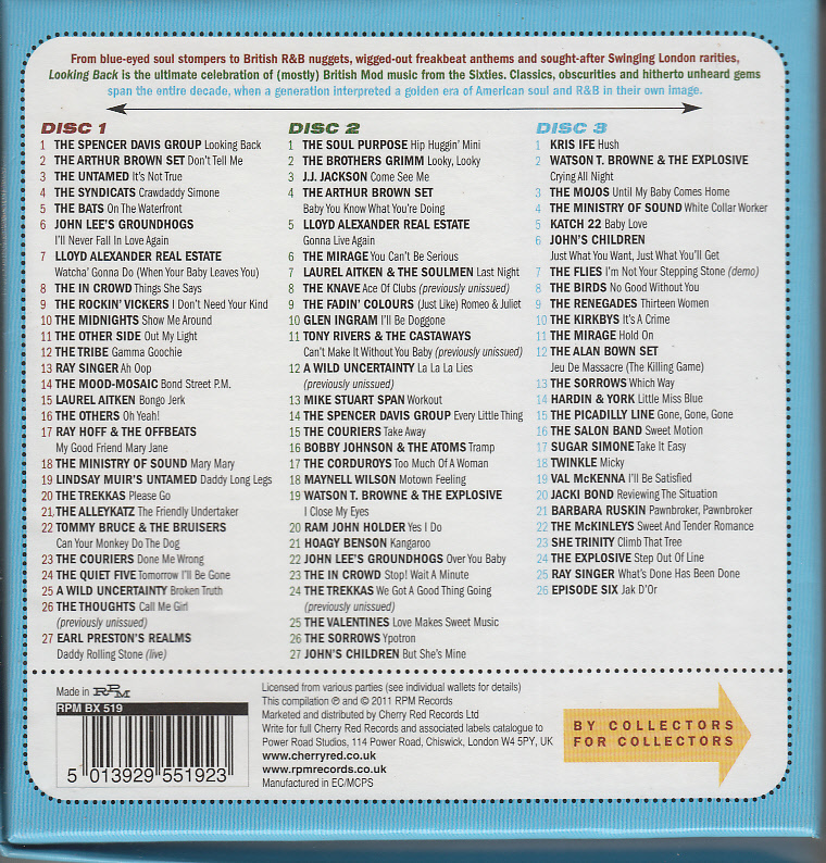 ♪V.A/LOOKING BACK-80 MOD, FREAKBEAT&SWINGING LONDON NUGGETS-3枚組輸入盤ブルー・アイド・ソウル/ソフト・ロック~ポップ・サイケ_画像2