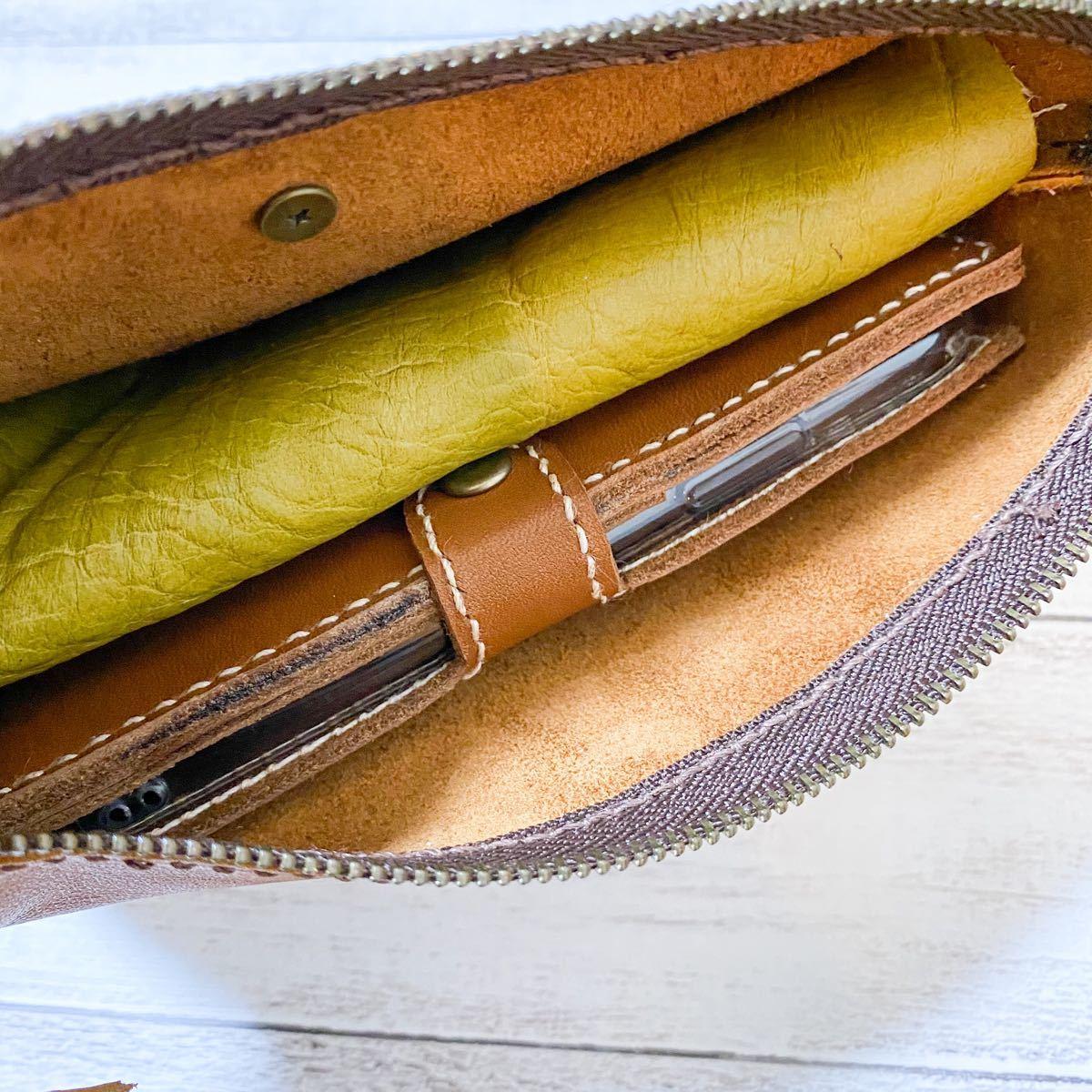 ポーチ セカンドバッグ 革 マチ付き 化粧ポーチ 小物入れ ブラウン 茶色