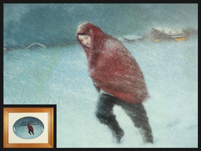 B0771 隠れた天才画家 ジョセフ中瀬(中瀬博司)Joseph h nakase 北國の女 美人画 人物 油絵 飾皿 絵付皿 額装 1974年制作 保証品