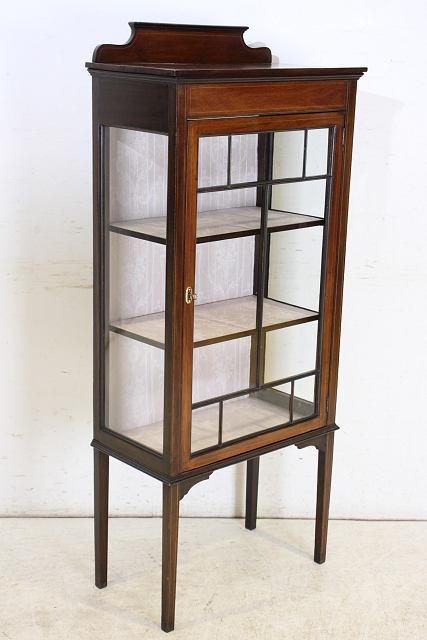 ショーケース アンティーク家具 ce-17 1910年代 イギリス製 アンティーク マホガニー エドワーディアン スモール ガラスキャビネット_画像9