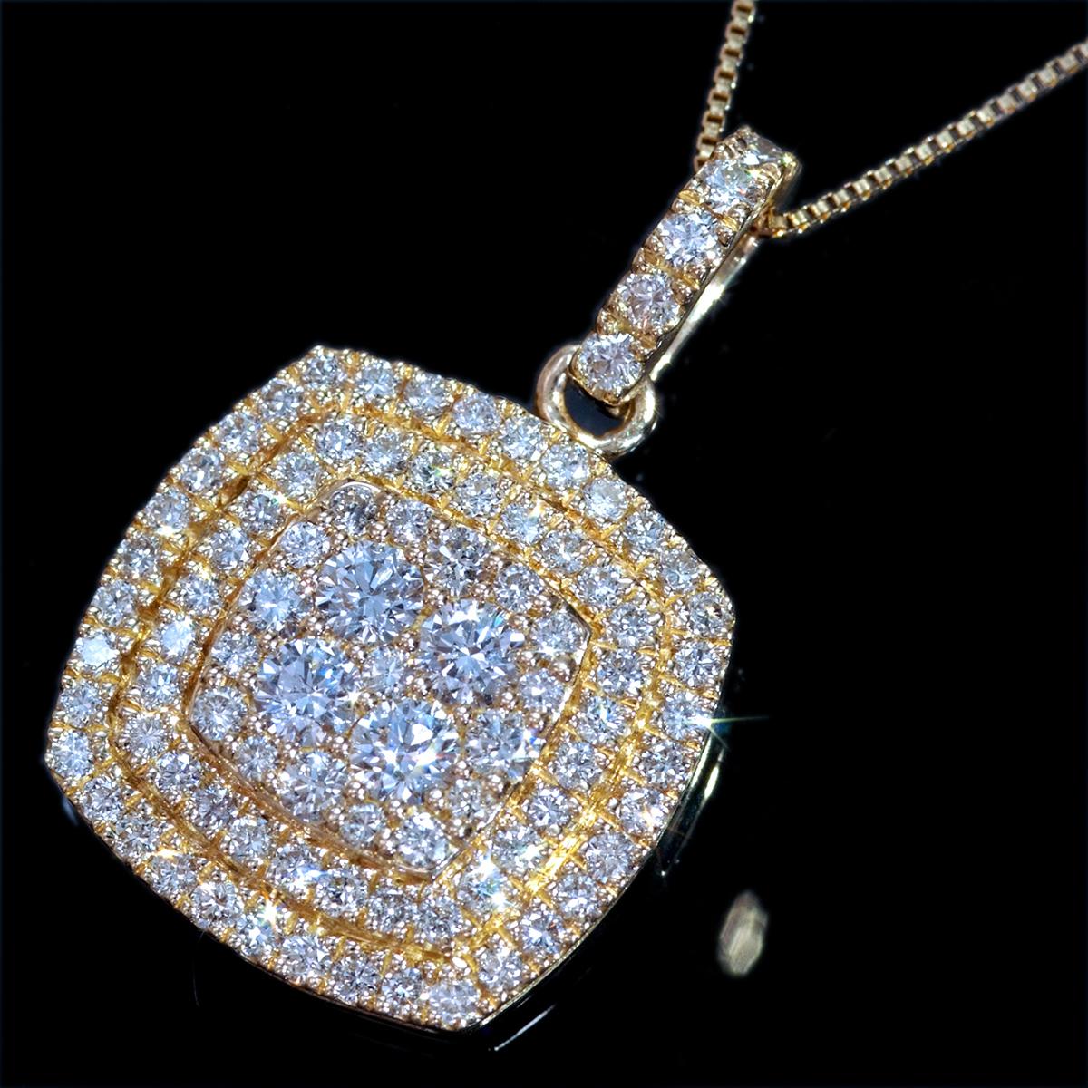*PN6311 新品業者向!【Table Necklace】テーブルネックレス 天然上質ダイヤモンド1.00ct 最高級18金無垢ネックレス