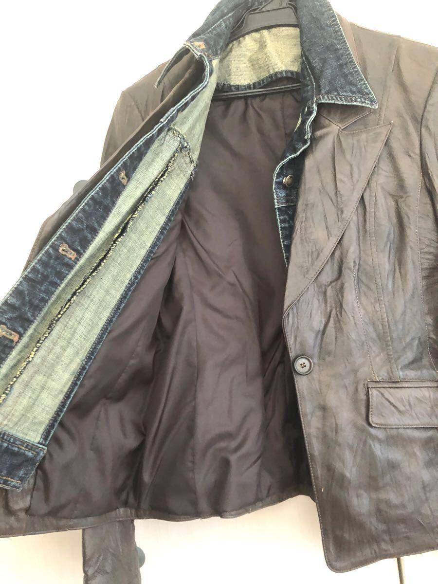 【新品】本革 豚皮 重ね着風レザージャケット