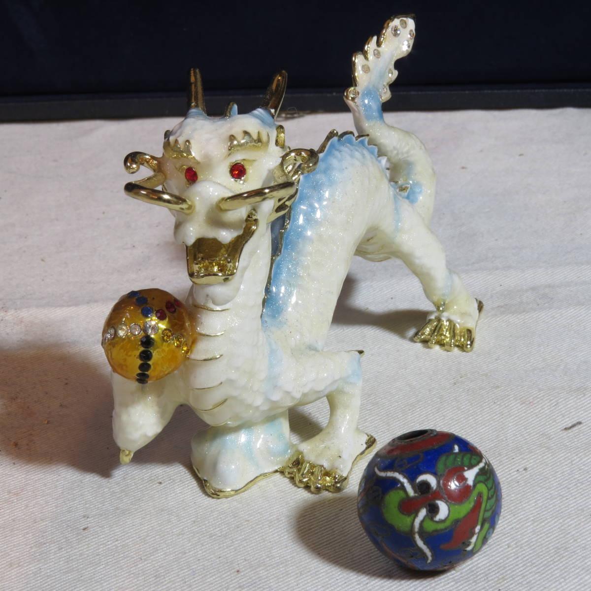 七宝焼き 龍置物・龍彫刻玉(トンボ玉)まとめて