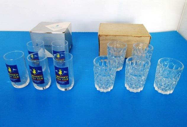 【まとめ売り】★POLO CLUB/ポロクラブ★タンブラー 5客 + グラス カットガラス 5客