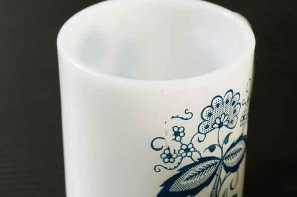 ◆ アメリカ雑貨 70's UNKNOWN ミルクガラス マグ 花柄/ビンテージ アンティーク レトロ インテリア コーヒー 食器 コップ ヒッピー 1_画像4