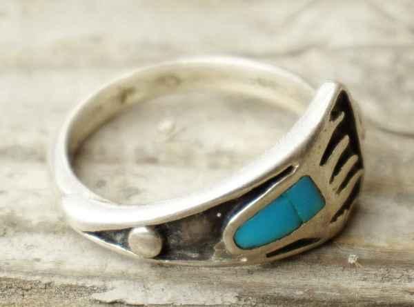 ◆ アメリカ仕入れ ベアクロー インレイ シルバーリング 16号/ビンテージ アンティーク 指輪 ナバホ インディアンジュエリー ターコイズ_画像1