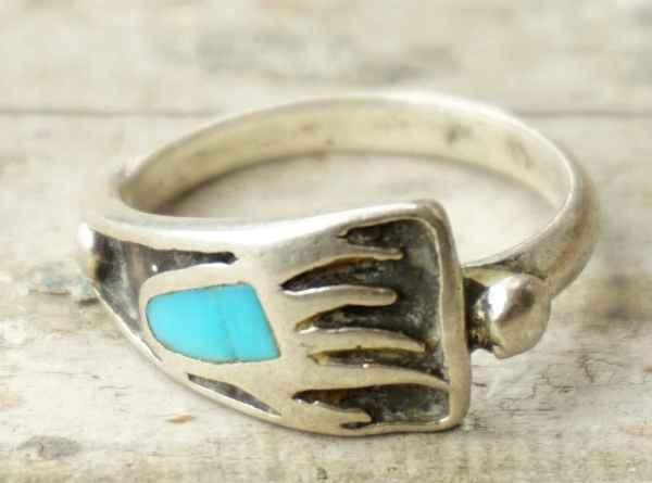 ◆ アメリカ仕入れ ベアクロー インレイ シルバーリング 16号/ビンテージ アンティーク 指輪 ナバホ インディアンジュエリー ターコイズ_画像2