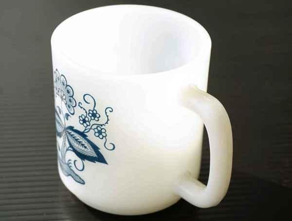 ◆ アメリカ雑貨 70's UNKNOWN ミルクガラス マグ 花柄/ビンテージ アンティーク レトロ インテリア コーヒー 食器 コップ ヒッピー 1_画像5