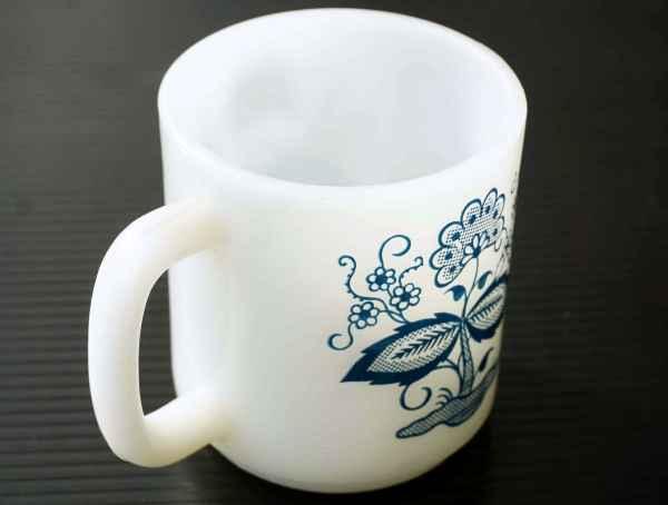 ◆ アメリカ雑貨 70's UNKNOWN ミルクガラス マグ 花柄/ビンテージ アンティーク レトロ インテリア コーヒー 食器 コップ ヒッピー 1_画像6