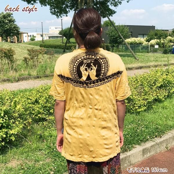 ★オレンジ★男女兼用 ロータス ファティマハンド プリント クリンクル 加工 エスニック アジアン 半袖Tシャツ po186