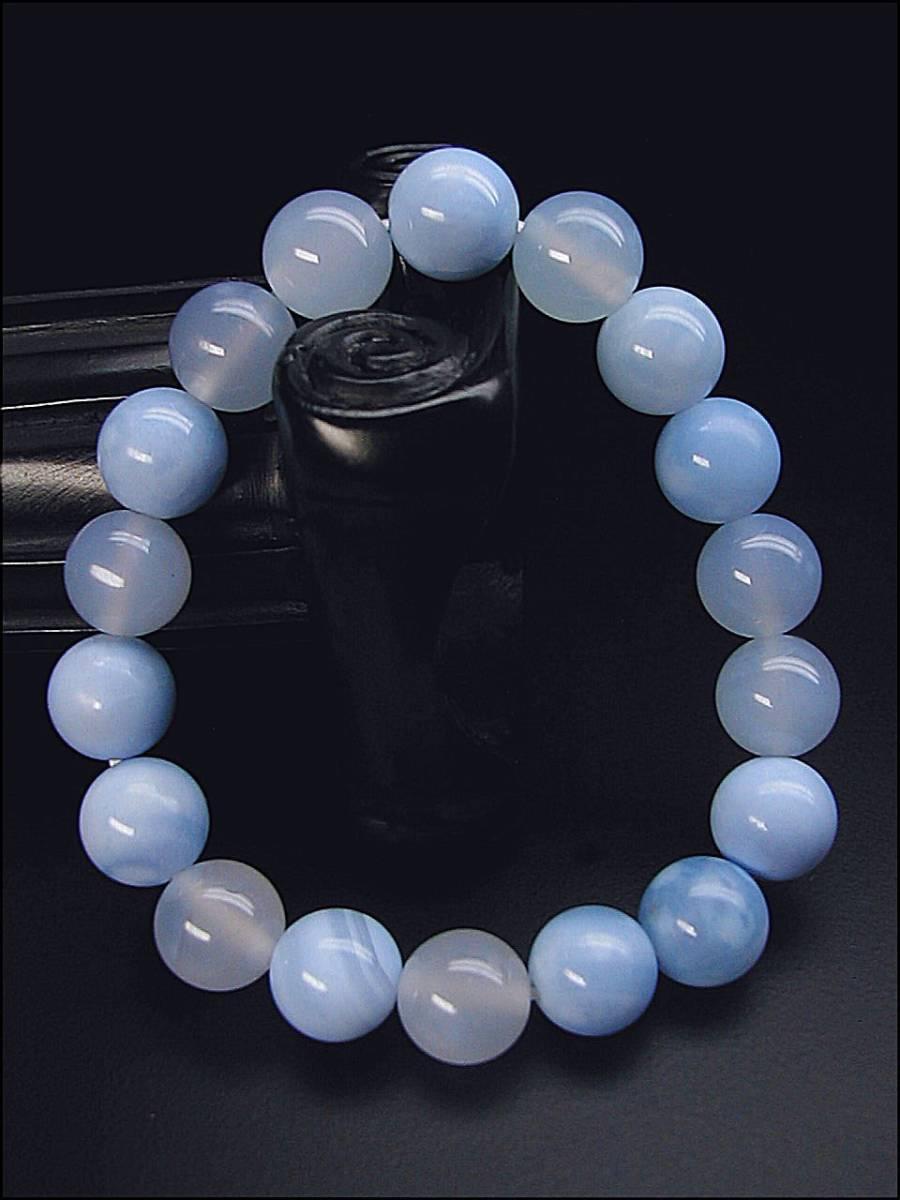 ♪即決 【壽】直径10.3mm天然最高AAA級極品大粒海藍瑪瑙ブレス 新品 _画像2