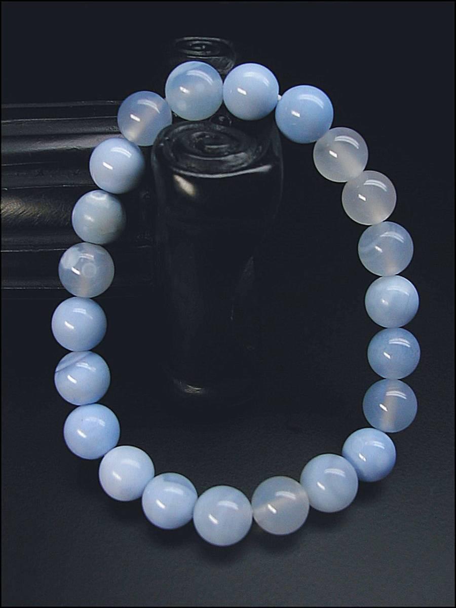 ♪即決【壽】直径8.5mm天然最高AAA級極品大粒海藍瑪瑙ブレス 新品_画像2