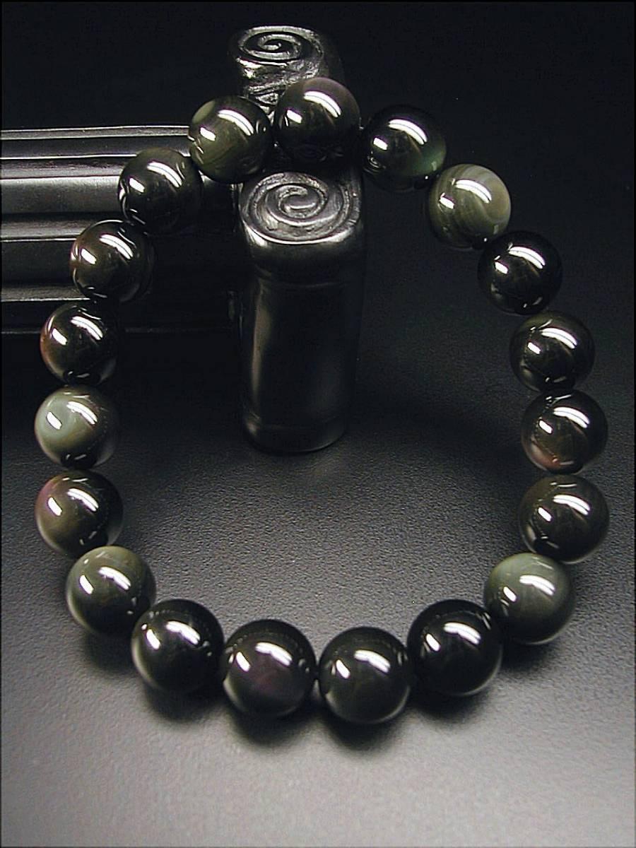 ♪即決【壽】直径12.3mm天然最高AAA級極品黒曜石ブレス 日本製 新品 _画像2