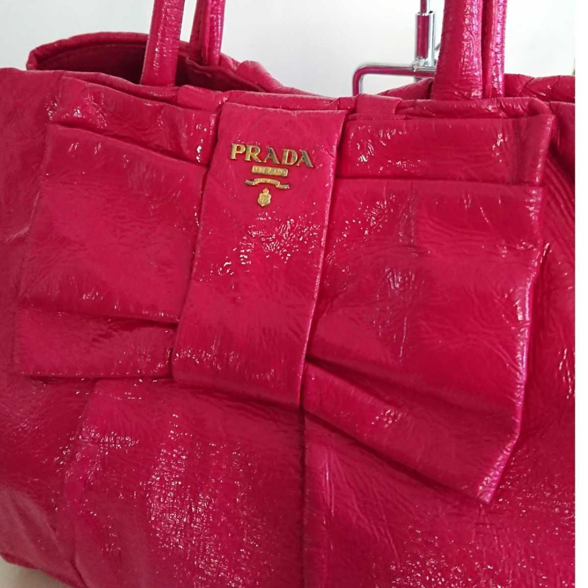 正規 プラダ エナメル レザー ハンドバッグ ミニ トートバッグ 鞄 パテント リボン ピンク ゴールド PRADA miumiu ミュウミュウ イタリア製