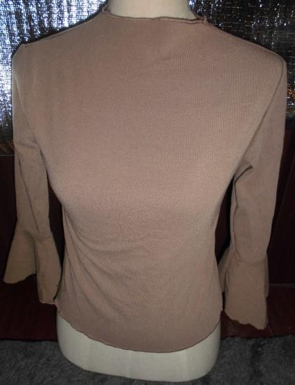 可愛いラッパ袖 七分袖ニット カットソー M キャメル