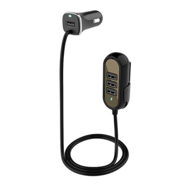 シガーソケット USB 延長ケーブル 後部座席 車載充電器 12V/24V 4USBポート 1.5m (黒)_画像1