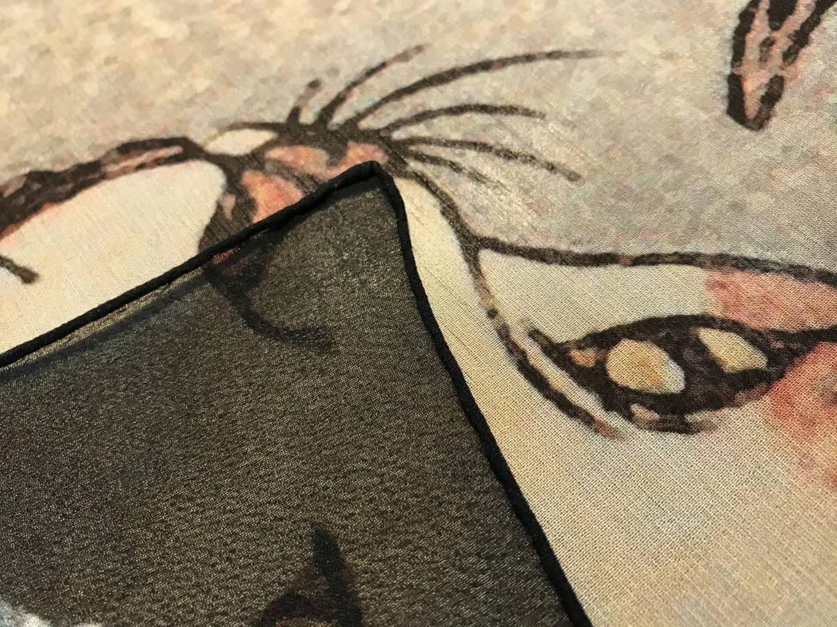 歌川国芳 うちわ絵 猫のすずみ シルク スカーフ 浮世絵 歌舞伎 _画像4