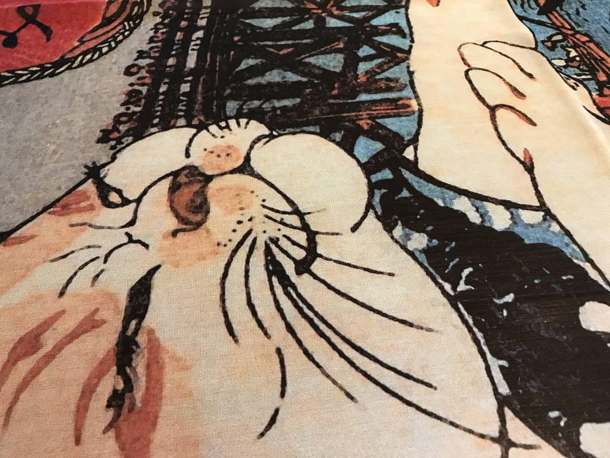 歌川国芳 うちわ絵 猫のすずみ シルク スカーフ 浮世絵 歌舞伎 _画像5