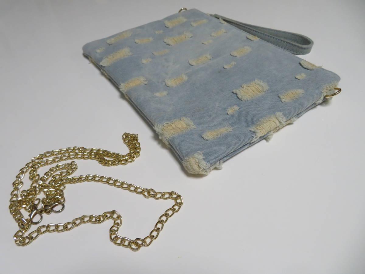 星柄 スターデザイン デニム仕様 ダメージ加工 金色チェーン付きショルダーバッグ セカンドバッグ クラッチバッグ 鞄 ポーチ 1個