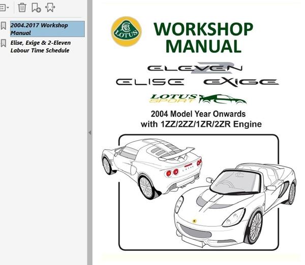 ロータス エリーゼ エキシージ S2 S3 2-ELEVEN 2004-2017 Ver3 整備書 修理書 カラー配線図 ワークショップマニュアル マニュアル