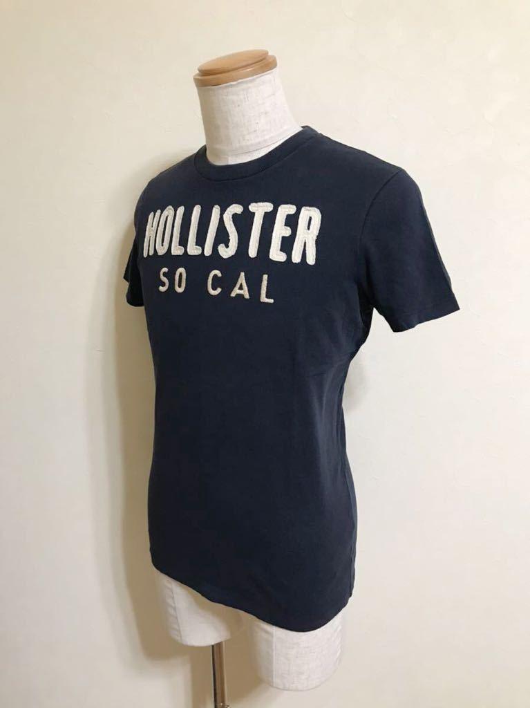 HOLLISTER ホリスター Tシャツ トップス 刺繍 ワッペン サイズS 175/92A 半袖 ネイビー